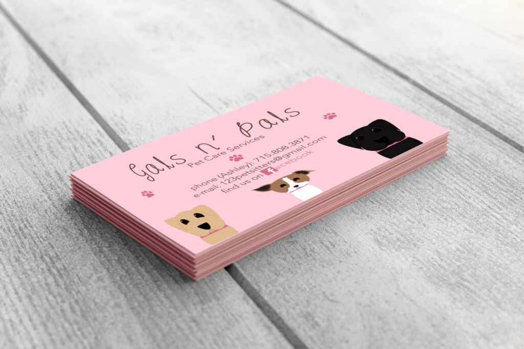 Gals n Pals Pet Care Business Card