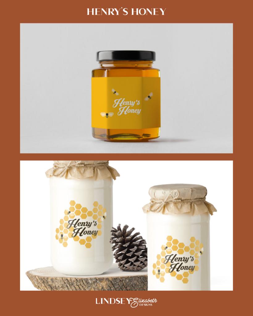 henry's honey design challenge prompt, jar mockup, cute, yellow, save the bees, honeybee, beekeeper logo design, honey business, small business owner