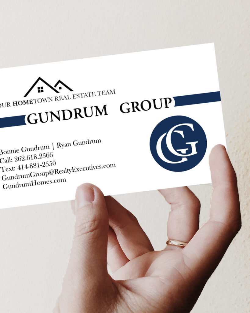 the gundrum group business card mockup realtors real estate agents milwaukee