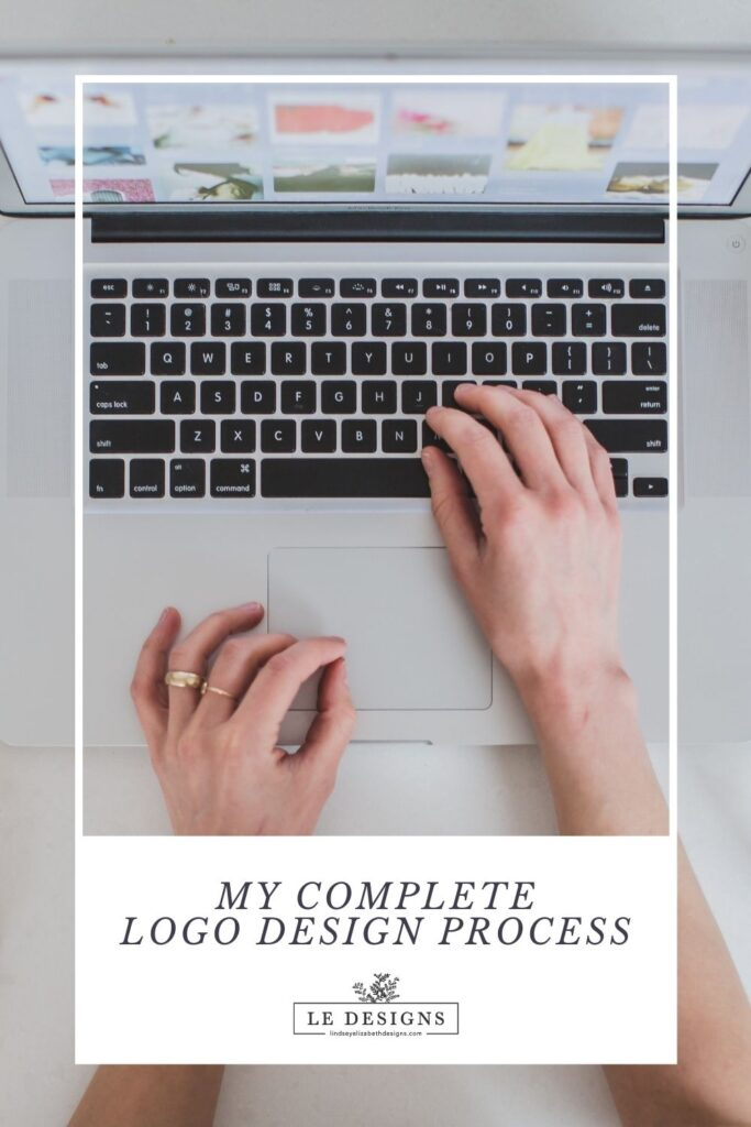 someone typing on a computer, my complete logo design process, will take you to my blog page about logo design