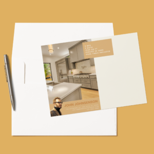 terracotta listing pack for realtors with canva social media post, postcard design, data sheet, and instagram story templates