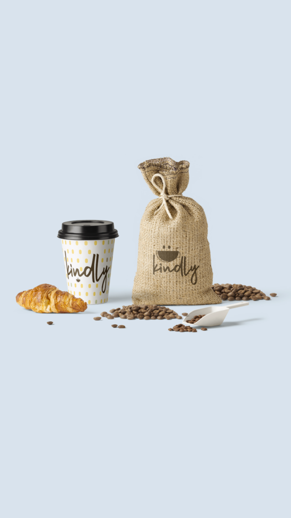 kindly coffee company mockup for logo and brand pattern on coffee cup and burlap bag